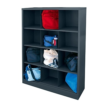 Sandusky® 66in.H x 46in.W x 18in.D Steel Cubby Storage Organizer, 12 Compartment, Charcoal