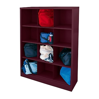 Sandusky® 66in.H x 46in.W x 18in.D Steel Cubby Storage Organizer, 12 Compartment, Burgundy
