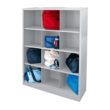 Sandusky® 66in.H x 46in.W x 18in.D Steel Cubby Storage Organizer, 12 Compartment, Dove Gray