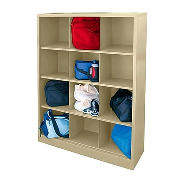 Sandusky® 66in.H x 46in.W x 18in.D Steel Cubby Storage Organizer, 12 Compartment, Putty