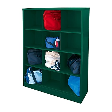 Sandusky® 66in.H x 46in.W x 18in.D Steel Cubby Storage Organizer, 12 Compartment, Forest Green
