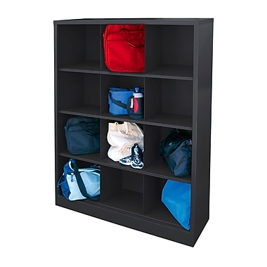 Sandusky® 66in.H x 46in.W x 18in.D Steel Cubby Storage Organizer, 12 Compartment, Black