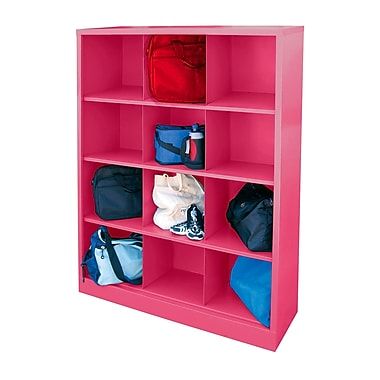 Sandusky® 66in.H x 46in.W x 18in.D Steel Cubby Storage Organizer, 12 Compartment, Pink