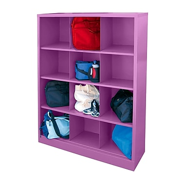 Sandusky® 66in.H x 46in.W x 18in.D Steel Cubby Storage Organizer, 12 Compartment, Purple