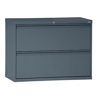 Sandusky® 800 Series 28 3/8in.H x 42in.W x 19 1/4in.D Steel Full Pull Lateral File, 2 Drawer, Charcoal