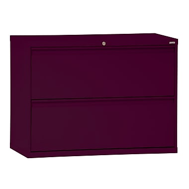 Sandusky® 800 Series 28 3/8in.H x 42in.W x 19 1/4in.D Steel Full Pull Lateral File, 2 Drawer, Burgundy