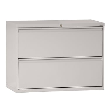 Sandusky® 800 Series 28 3/8in.H x 36in.W x 19 1/4in.D Steel Full Pull Lateral File, 2 Drawer, Dove Gray