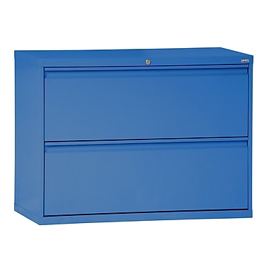 Sandusky® 800 Series 28 3/8in.H x 36in.W x 19 1/4in.D Steel Full Pull Lateral File, 2 Drawer, Blue