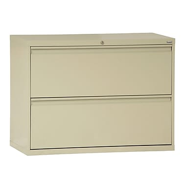 Sandusky® 800 Series 28 3/8in.H x 42in.W x 19 1/4in.D Steel Full Pull Lateral File, 2 Drawer, Putty