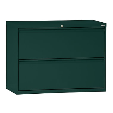 Sandusky® 800 Series 28 3/8in.H x 36in.W x 19 1/4in.D Steel Full Pull Lateral File, 2 Drawer, Forest Green