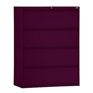 Sandusky® 800 Series 53 1/4in.H x 36in.W x 19 1/4in.D Steel Full Pull Lateral File, 4 Drawer, Burgundy
