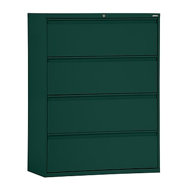 Sandusky® 800 Series 53 1/4in.H x 36in.W x 19 1/4in.D Steel Full Pull Lateral File, 4 Drawer, Forest Green