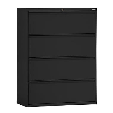 Sandusky® 800 Series 53 1/4''H x 42in.W x 19 1/4in.D Steel Full Pull Lateral File, 4 Drawer, Black