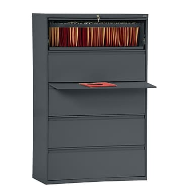 Sandusky® 800 Series 5-Drawer Steel Full Pull Lateral File Cabinet, Charcoal, Letter/Legal (LF8F425-02)