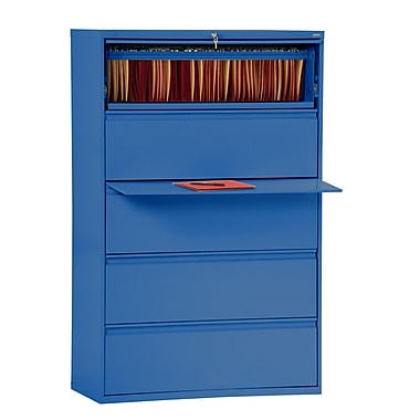 Sandusky 800 Series 5 Drawer Lateral File, Blue,Letter/Legal, 42''W (LF8F425-06)