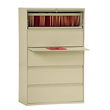 Sandusky® 800 Series 66 3/8in.H x 42in.W x 19 1/4in.D Steel Full Pull Lateral File, 5 Drawer, Putty