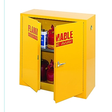 Sandusky® 44in.H x 43in.W x 18in.D Steel Counter Height Flammable Safety Cabinet, Yellow