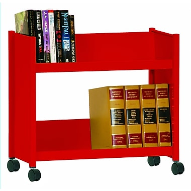 Sandusky® 25in.H x 29in.W x 14in.D Steel Single Sided Sloped Book Truck, 2 Shelf, Red