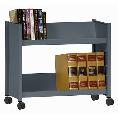 Sandusky® 25in.H x 29in.W x 14in.D Steel Single Sided Sloped Book Truck, 2 Shelf, Charcoal
