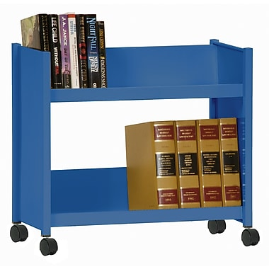 Sandusky® 25in.H x 29in.W x 14in.D Steel Single Sided Sloped Book Truck, 2 Shelf, Blue