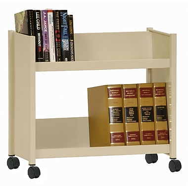 Sandusky® 25in.H x 29in.W x 14in.D Steel Single Sided Sloped Book Truck, 2 Shelf, Putty
