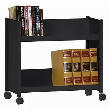 Sandusky® 25in.H x 29in.W x 14in.D Steel Single Sided Sloped Book Truck, 2 Shelf, Black