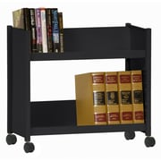 "Sandusky® 25""H x 29""W x 14""D Steel Single Sided Sloped Book Truck, 2 Shelf, Black"