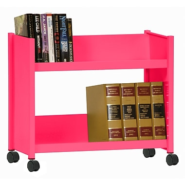 Sandusky® 25in.H x 29in.W x 14in.D Steel Single Sided Sloped Book Truck, 2 Shelf, Pink