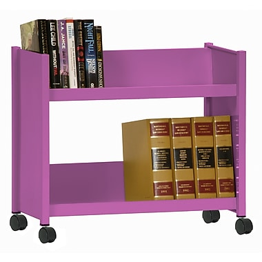 Sandusky® 25in.H x 29in.W x 14in.D Steel Single Sided Sloped Book Truck, 2 Shelf, Purple