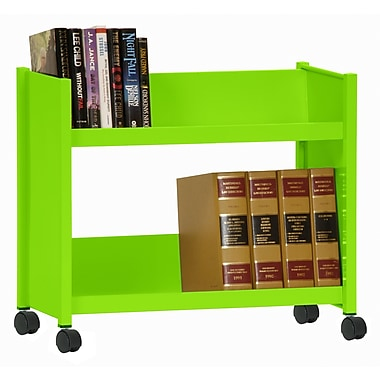 Sandusky® 25in.H x 29in.W x 14in.D Steel Single Sided Sloped Book Truck, 2 Shelf, Electric Green