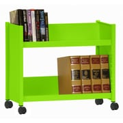 "Sandusky® 25""H x 29""W x 14""D Steel Single Sided Sloped Book Truck, 2 Shelf, Electric Green"