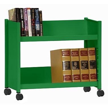 Sandusky® 25in.H x 29in.W x 14in.D Steel Single Sided Sloped Book Truck, 2 Shelf, Primary Green
