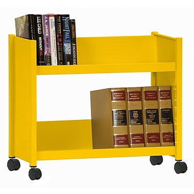 Sandusky® 25in.H x 29in.W x 14in.D Steel Single Sided Sloped Book Truck, 2 Shelf, Yellow