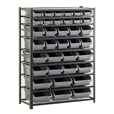Sandusky® 57in.H x 44in.W x 16in.D Steel 36 Storage Bin Shelving Unit, Black