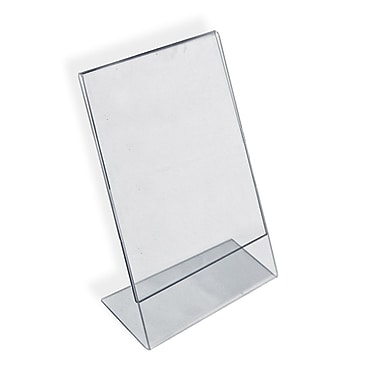 Azar Acrylic Vertical Slanted L-Shape Sign Holder, 12
