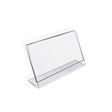 Azar Acrylic Horizontal Slanted L-Shape Sign Holder, 4