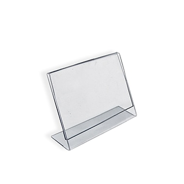 2 1/2in. x 3 1/2in. Horizontal Slanted L-Shape Acrylic Acrylic Sign Holder