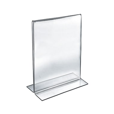 Azar Acrylic 2-Sided Double-Foot Vertical Sign Holder, 12