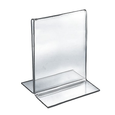 Azar Acrylic 2-Sided Double-Foot Vertical Sign Holder, 6in. x 5in., 10/Pack