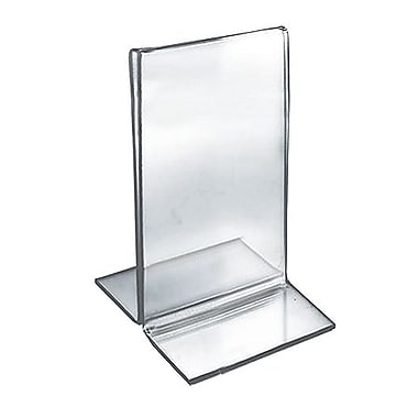 5in. x 3 1/2in. Vertical Double Sided Stand Up Acrylic Sign Holder, Clear