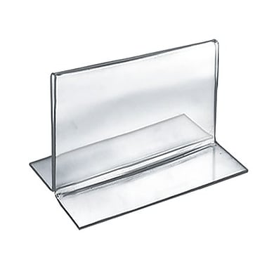 3 1/2in. x 5in. Horizontal Double Sided Stand Up Acrylic Sign Holder, Clear