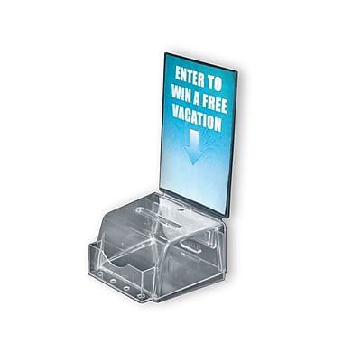 12in. x 5 1/2in. x 5in. Small Molded Acrylic Suggestion Box With Pocket, Clear