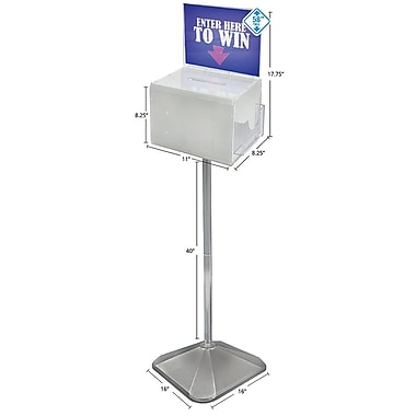 Extra Large White Suggestion Box With Pocket, 8 1/4in.(H) x 11in.(W) x 8 1/4in.(D)