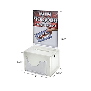 Large White Suggestion Box With Pocket, Lock and Keys, 6 1/4in.(H) x 9in.(W) x 6 1/4in.(D)