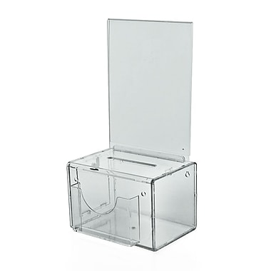 Large Clear Suggestion Box With Pocket, Lock and Keys, 6 1/4in.(H) x 9in.(W) x 6 1/4in.(D)