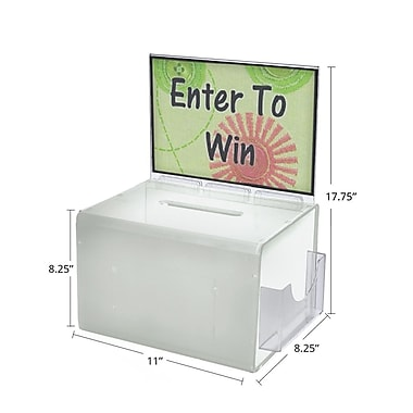 Azar® Extra Large White Suggestion Box With Pocket, Lock and Keys, 8-1/4