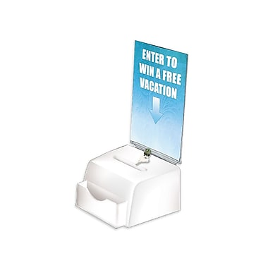 Azar® Medium Moulded Suggestion Box With Pocket, Lock and Key, White