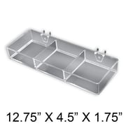Azar Displays 3 Compartment Tray For Pegboard/Slatwall, Clear