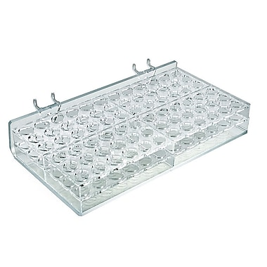Azar Displays 72 Oval Slot Mascara & Cosmetic Tray For Pegboard, Slatwall/Counter Top, Clear