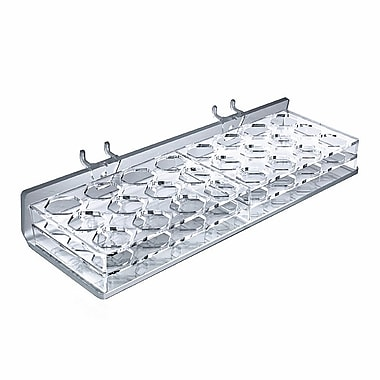 Azar Displays 24 Octagonal Slot Mascara and Cosmetic Tray For Pegboard/Slatwall, Clear